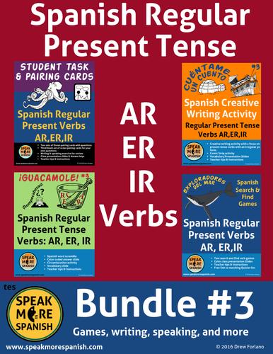 Spanish Regular Present Tense Verbs BUNDLE.  Presente de Verbos Regulares AR,ER,IR