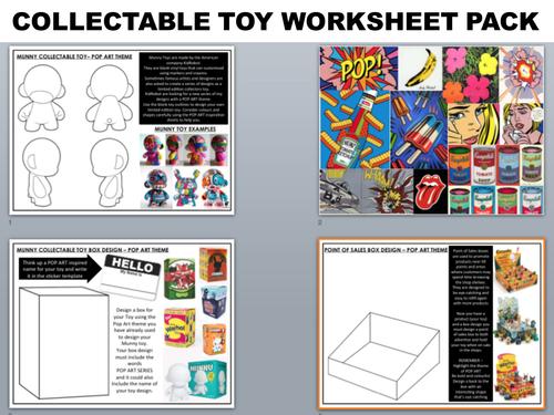 GRAPHIC DESIGN WORKSHEET PACK - COLLECTABLE TOY DESIGN - Set of 3 worksheets + inspiration sheet