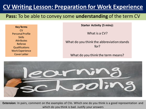 CV writing lesson/support