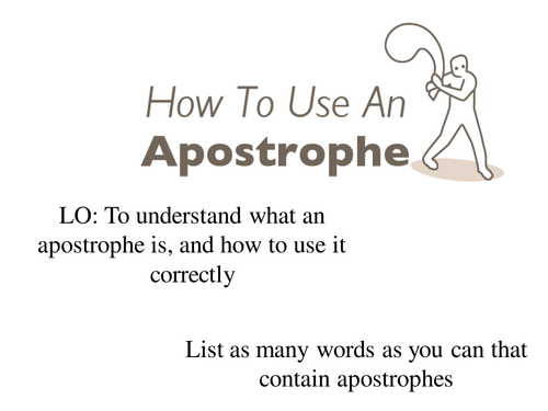 Apostrophes Literacy lesson