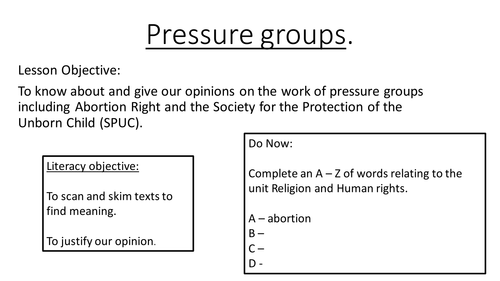 Pressure Groups - Abortion Rights Vs SPUC