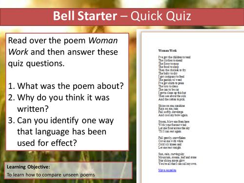 Eduqas Unseen Poetry Lesson- Overheard in County Sligo (Comparison question)