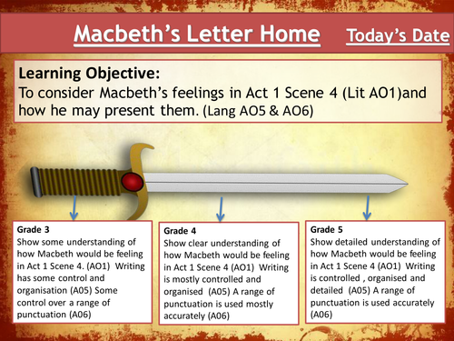 Macbeth - Lesson 6 - Looking at Act 1 Scene 4 - Tailored for the new Eduqas GCSE