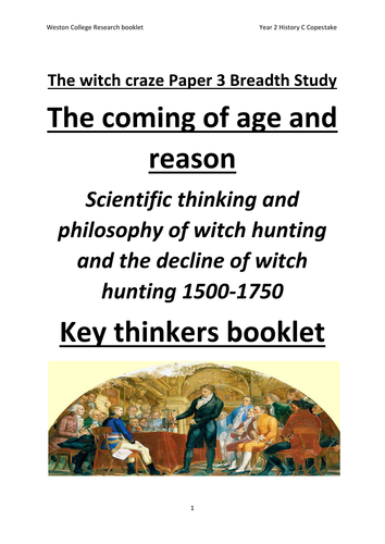 Student work booklet witch craze breadth study scientific thinkers now with teacher answers