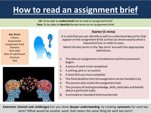 How to read an assignment brief part 1