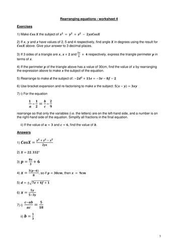 Rearranging equations worksheet 4 - with answers by Kevald ...