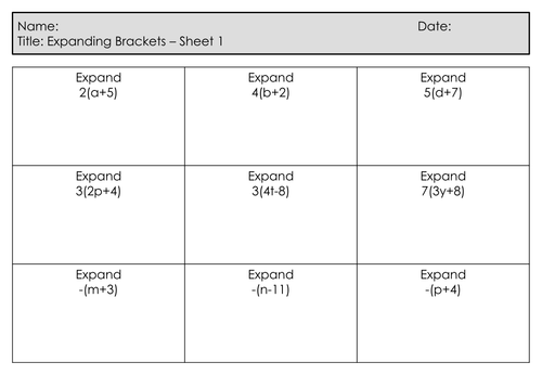 GCSE Foundation Maths - New Specification - Retention /Exam Questions - Expanding Single Brackets