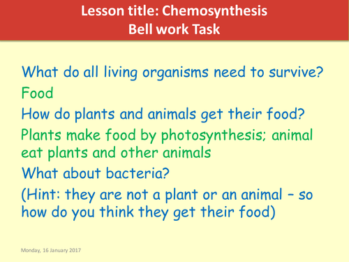 Ks3 Activate 2 Biology Chemosynthesis lesson