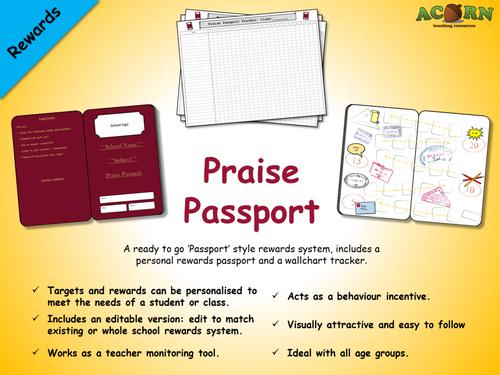 Classroom Reward Ideas High School ~ Rewards praise passport by acornteachingresources