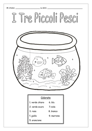 ITALIAN - COLOUR BY NUMBERS - WORKSHEETS by labellaroma - Teaching ...