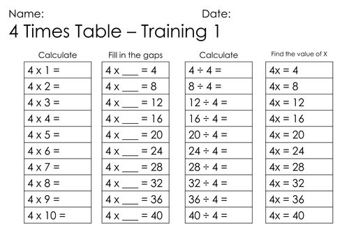 4 times table online for 85 times table