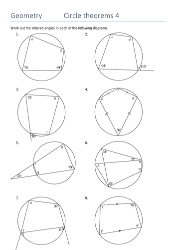 Free Printable Numbers Worksheets Pdf Circle Theorem Angles In A Cyclic Quadrilateral By Sjcooper  Money Worksheets Grade 3 Word with Dialogue Practice Worksheet Word Circle Theorem Angles In A Cyclic Quadrilateral By Sjcooper  Teaching  Resources  Tes Pictograms Ks2 Worksheets