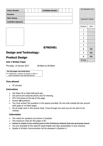 'AQA style' test paper/template for KS3.