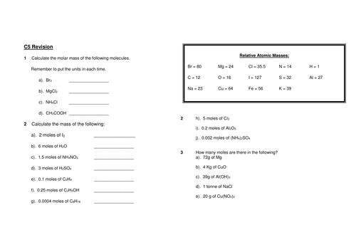 Mole calculation molar mass molar volumes limiting reagent – Calculating Molar Mass Worksheet