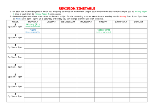 Revision Timetable by itlec1 - Teaching Resources - Tes