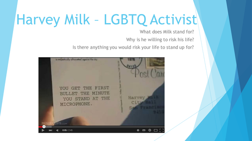 Homophobia - human rights, activism of Harvey Milk and Homosexuality & the media - Lesson 2