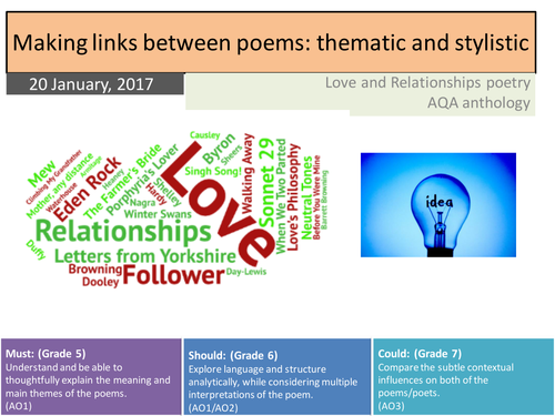 GCSE English Literature 9-1: Comparing Love and Relationships Poetry