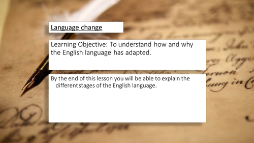 A Stand Alone Lesson On Language Change - KS3