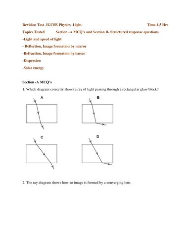 Revision Test -IGCSE Physics -Light