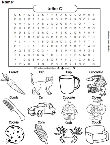 the letter c word search by sciencespot teaching resources tes