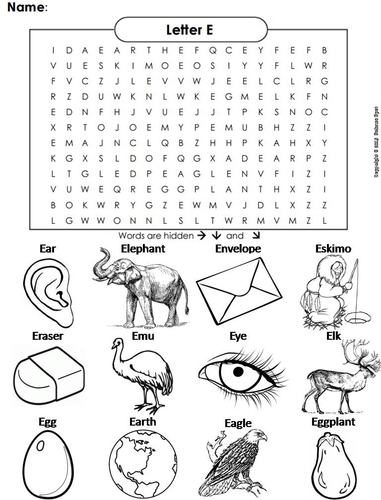 The Letter E Word Search by ScienceSpot | Teaching Resources