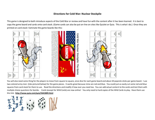 Cold War Board Game! Nuclear Stockpile! W/ Worksheet and questions
