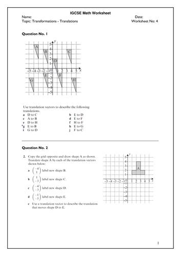 transformations  translations igcse math worksheet by teskm  transformations  translations igcse math worksheet by teskm  teaching  resources  tes