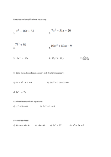 Years 10 And 11 Solving Quadratic Equations Algebraic Expressions