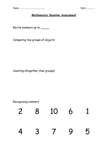 Reception Baseline Assessment activities
