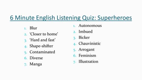 6 Minute English Listening Quiz Superheroes