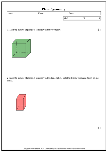 Years 9/10/11: Questions on Plane Symmetry with Answer