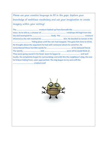 creative writing and using ambitious vocabulary.