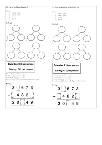 Year 5 Calculations Revision Mixed Reasoning Problems