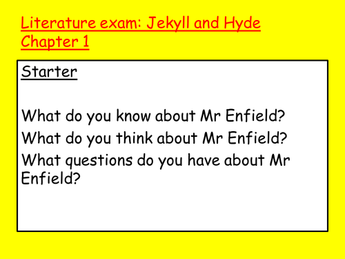 Jekyll and Hyde Revision Scheme of Work