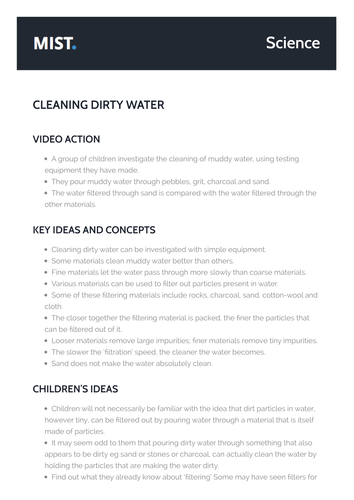 MIST : SCIENCE : AIR AND WATER : Storing and Cleaning Water : Cleaning Dirty Water