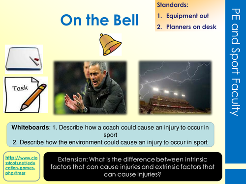 Reducing the risk of sports injuries LO1 Lessons Bundle