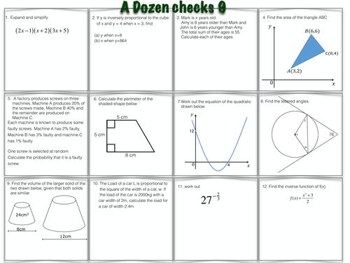 A Dozen GCSE Maths Questions worksheets 9 & 10