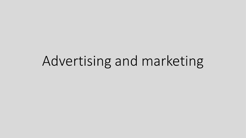 The Media - Advertising and marketing techniques KS3 lesson