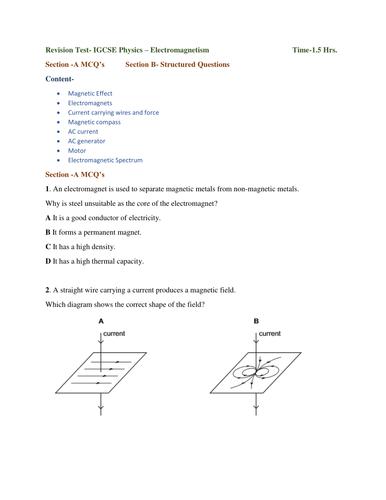 Revision Test- IGCSE Physics – Electromagnetism