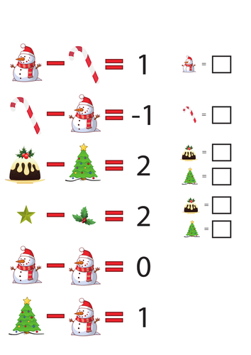 Maths: Christmas subtraction codes