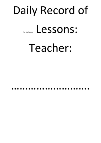 Teacher's Diary, Class Rolls and Daybook Templates print