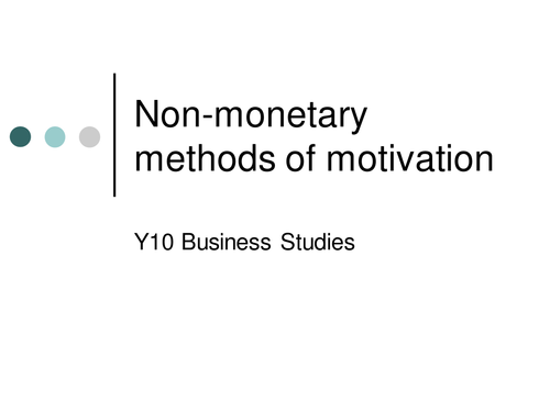 GCSE Business Studies - Motivation and Theories