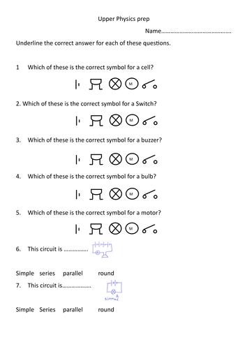 Basic circuits multiple choice test