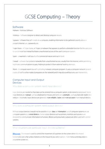 GCSE Computing Study Notes
