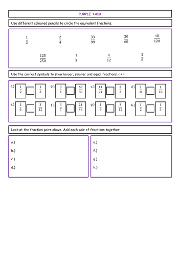Comparing Fractions Differentiated Worksheets Ks  Moreless Than  Comparing Fractions Differentiated Worksheets Ks  Moreless Than Symbols  Adding And Equivalence By Eckford  Teaching Resources  Tes