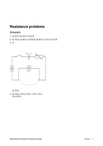 GCSE KS4 resistance