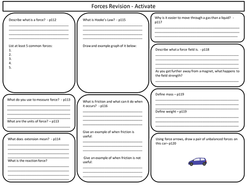 Ks3 Forces Revision Sheet For Activate Science By