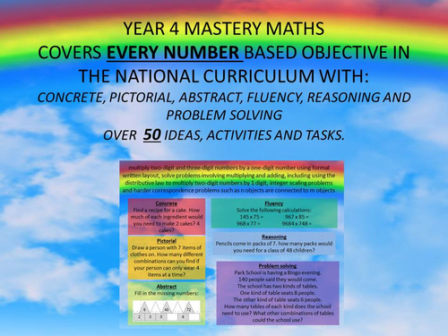 YEAR 1,2,3,4,5,6 MASTERY MATHS COVERS EVERY OBJECTIVE IN THE ...