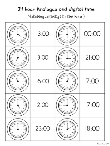 24 hour analogue digital clock time matching activities by hoppytimes teaching resources tes. Black Bedroom Furniture Sets. Home Design Ideas