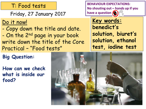 Food tests (Core practical) KS3 or KS4 (for B2.1.2 Activate)